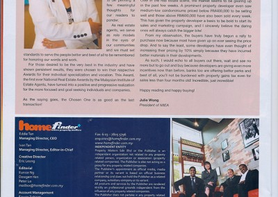 JULIE WONG IN HOME FINDER NEWSLETTER SEPT/OCT 2009